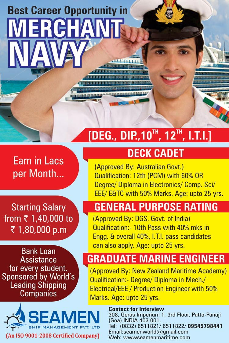 Join Merchant Navy after 10th,12th & Graduation